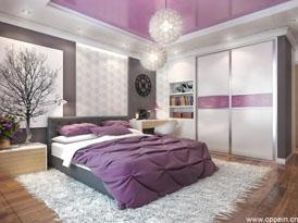 欧派定制系列-浪漫紫色卧室迷你衣帽间效果图