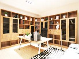 吉哥定制系列-转角大面墙书房书柜效果图