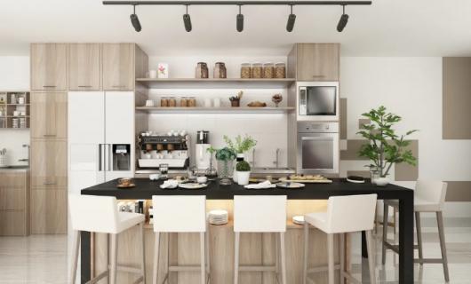 客来福家居:厨房台面怎么选 被夸爆了的厨房台面设计 每天煮饭都是享受